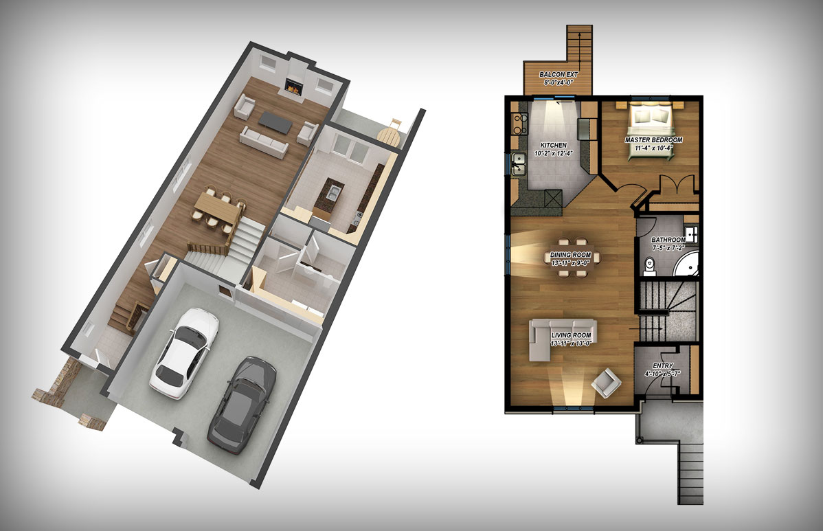 2d or 3d rendered floor plans